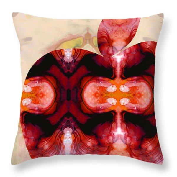 A Good Apple - Fruit Art By Sharon Cummings Throw Pillow by Sharon Cummings
