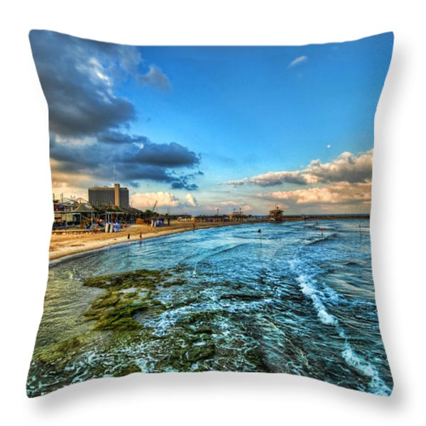 a good morning from Hilton's beach Throw Pillow by Ron Shoshani