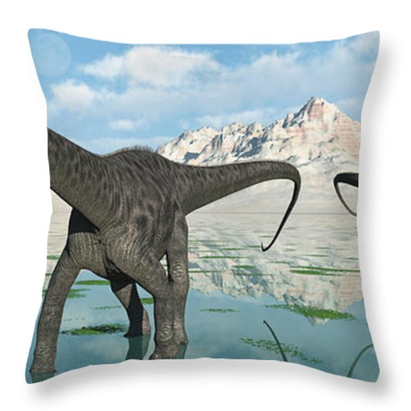 A Group Of Diplodocus Dinosaurs Grazing Throw Pillow by Mark Stevenson