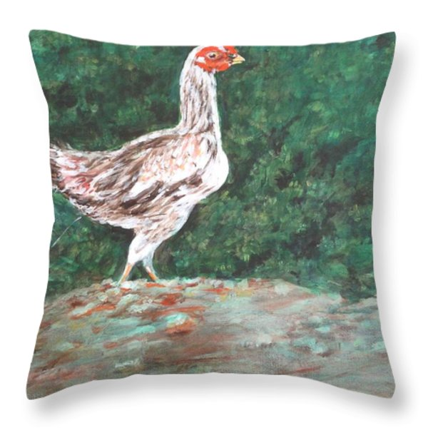 A Hen Throw Pillow by Usha Shantharam