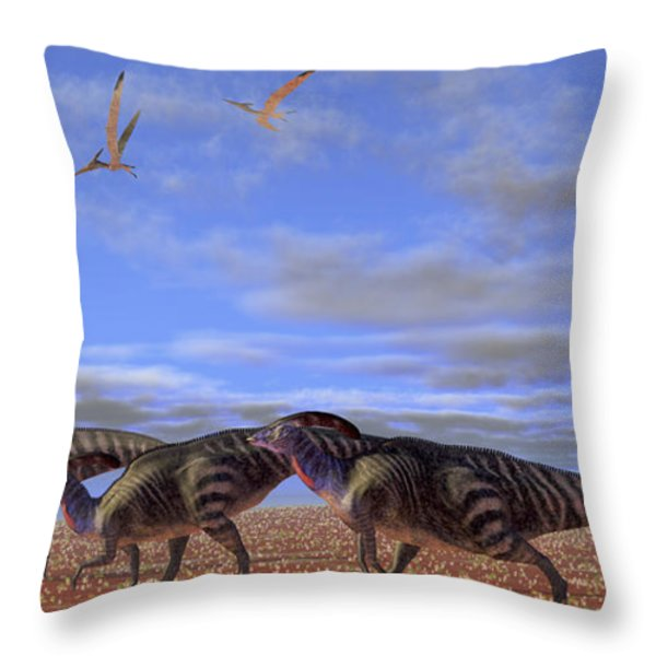 A Herd Of Parasaurolophus Dinosaurs Throw Pillow by Corey Ford