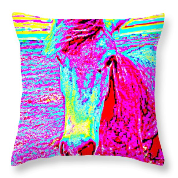 a horse comes to me in a dream Throw Pillow by Hilde Widerberg