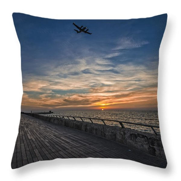 a kodak moment at the Tel Aviv port Throw Pillow by Ron Shoshani
