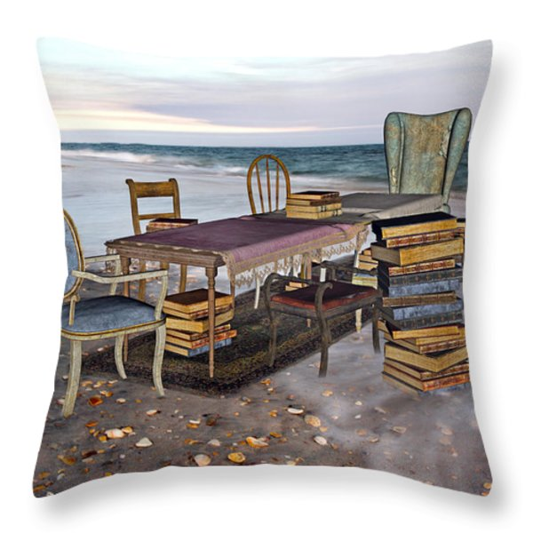 A Library of Oceans Throw Pillow by Betsy A  Cutler