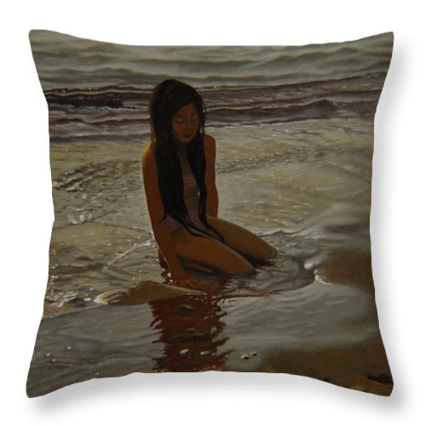 A Line Between Ocean And Sand Throw Pillow by Thu Nguyen
