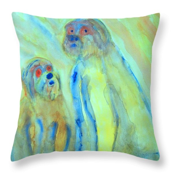 a little troll family  Throw Pillow by Hilde Widerberg