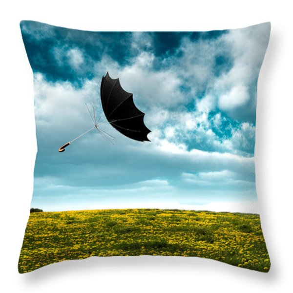 A Little Windy Throw Pillow by Bob Orsillo