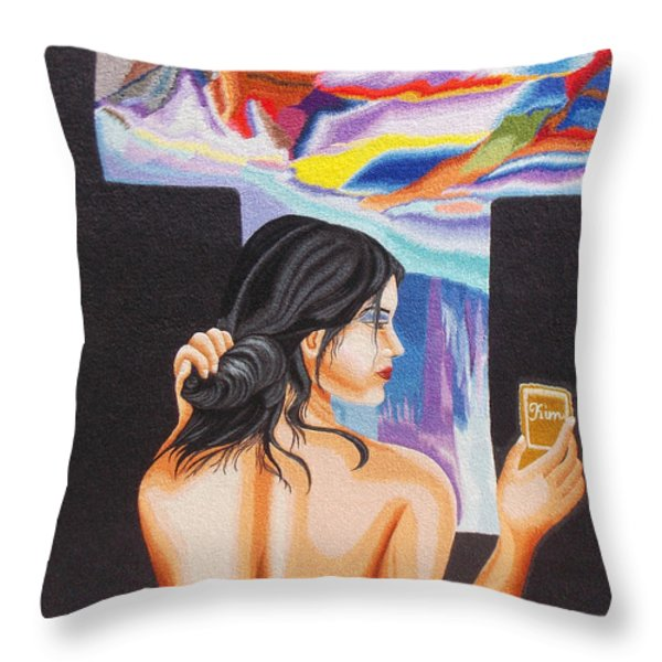 A Look Into The Past Hand Embroidery Throw Pillow by To-Tam Gerwe