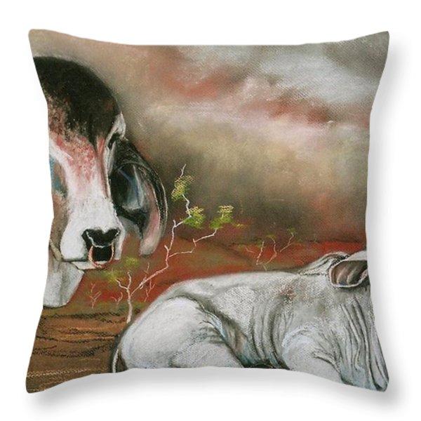 A Lot Of Bull Throw Pillow by Sandra Sengstock-Miller