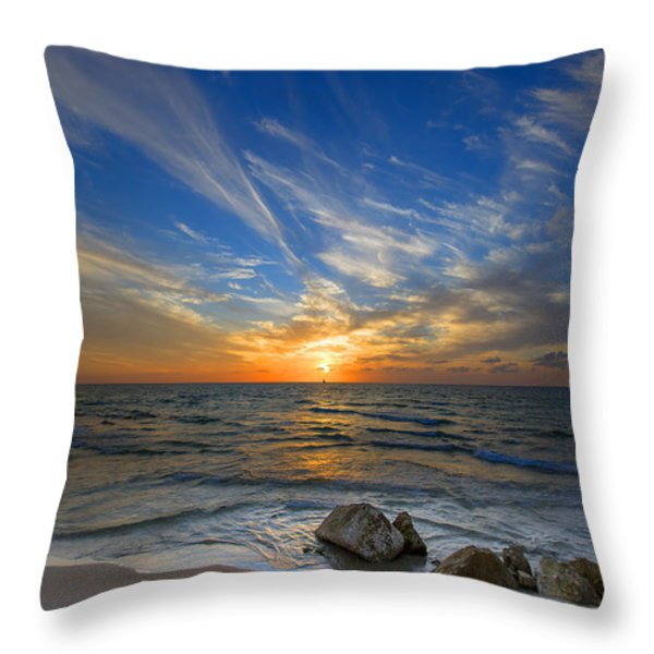 a majestic sunset at the port Throw Pillow by Ron Shoshani