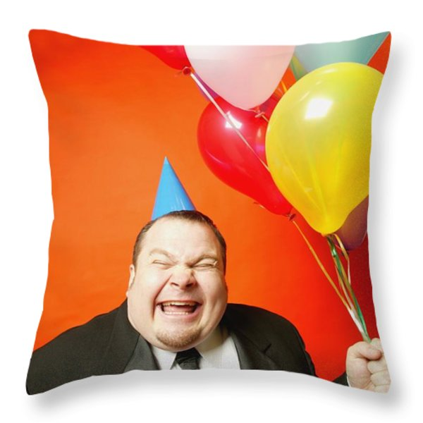 A Man With Balloons Throw Pillow by Darren Greenwood