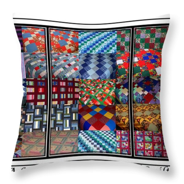 A Menagerie Of Colorful Quilts Triptych Throw Pillow by Barbara Griffin
