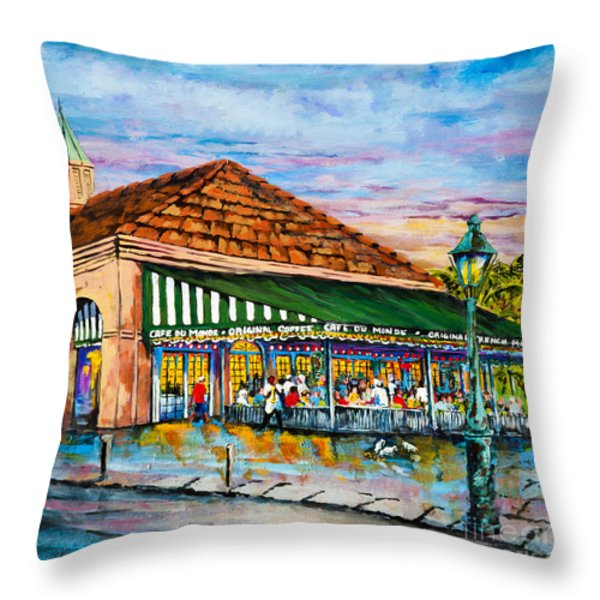 A Morning At Cafe Du Monde Throw Pillow by Dianne Parks
