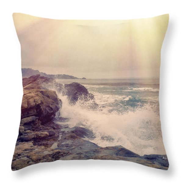 A Mysterious Morning - Point Lobos Throw Pillow by Angela A Stanton