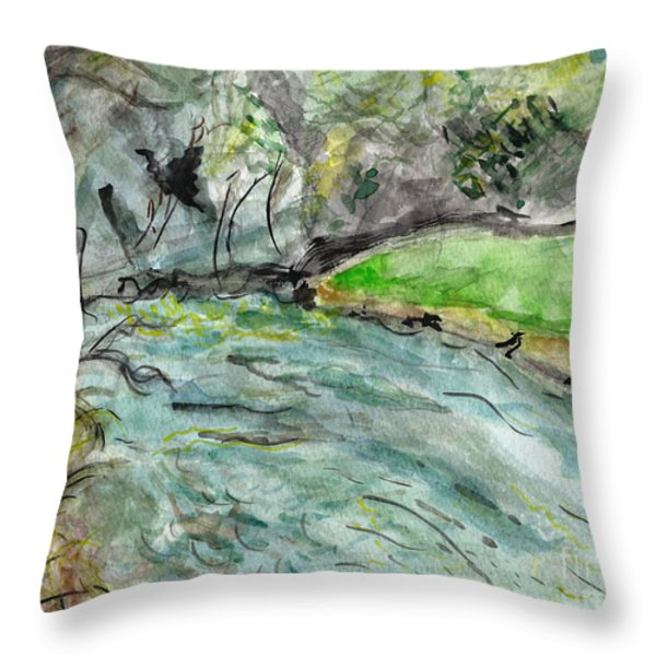 A New Outlook   The New River Ashe County North Carolina Throw Pillow by Elizabeth Briggs