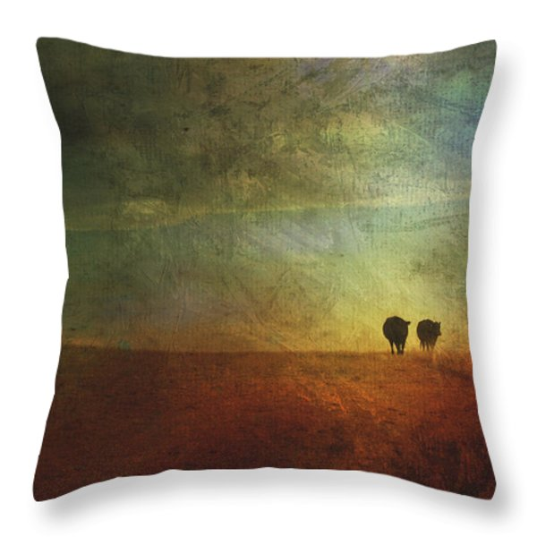 A Painterly Image Of Two Cows Walking Throw Pillow by Roberta Murray