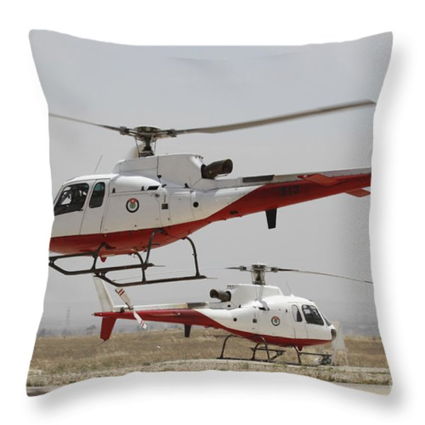 A Pair Of As350 Squirrel Helicopters Throw Pillow by Ofer Zidon