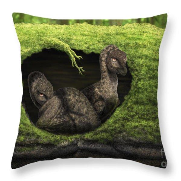 A Pair Of Juvenile Troodons Throw Pillow by Alvaro Rozalen