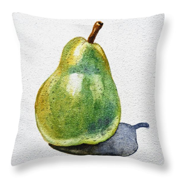 A Pear Throw Pillow by Irina Sztukowski