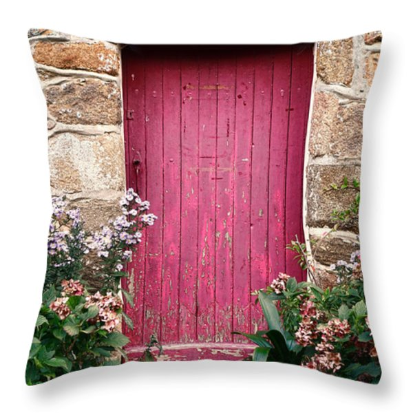 A Pink Door Throw Pillow by Olivier Le Queinec