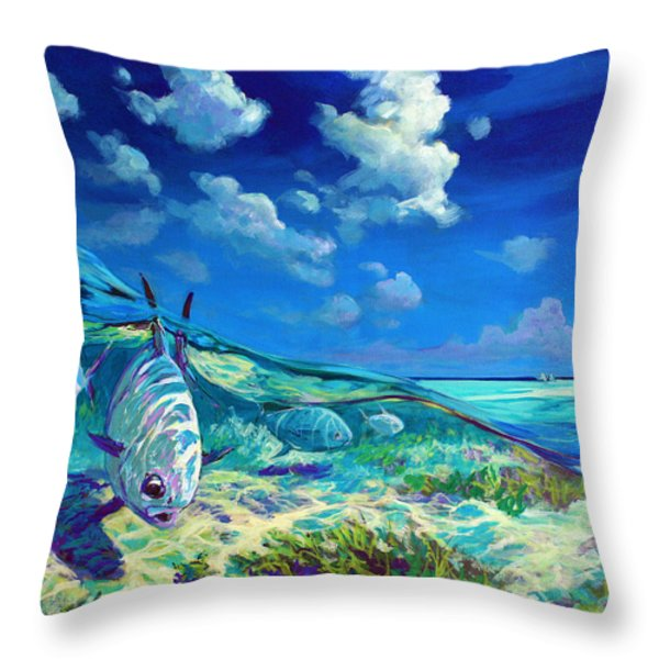 A Place I'd Rather Be - Caribbean Permit Fly Fishing Painting Throw Pillow by Mike Savlen