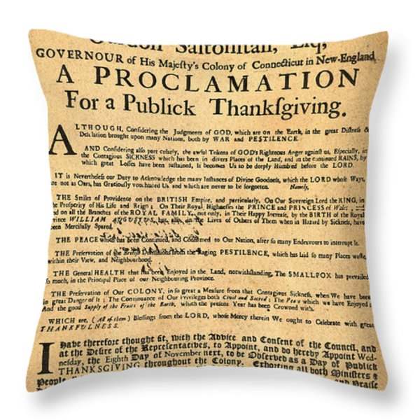 A Proclamation of Thanksgiving Throw Pillow by Digital Reproductions