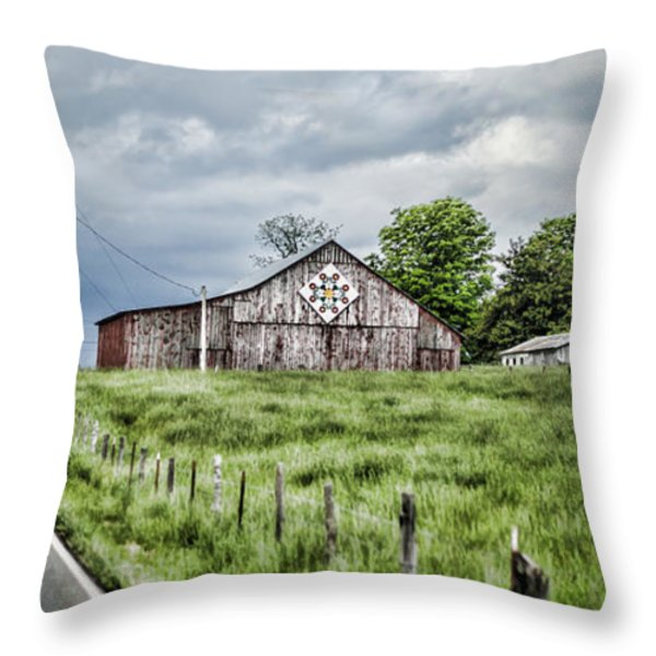 A Quilted Barn Throw Pillow by Heather Applegate