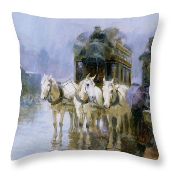 A Rainy Day In Paris Throw Pillow by Ulpiano Checa y Sanz