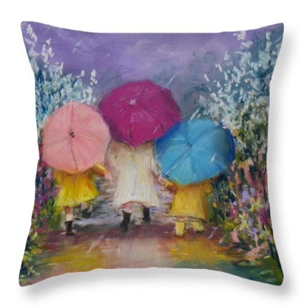 A Rainy Day Stroll With Mom Throw Pillow by Jack Skinner