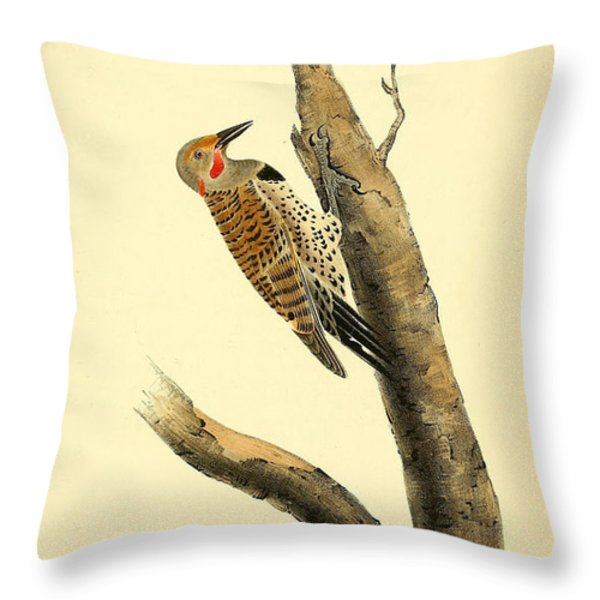 A Red Moustached Woodpecker Throw Pillow by Philip Ralley