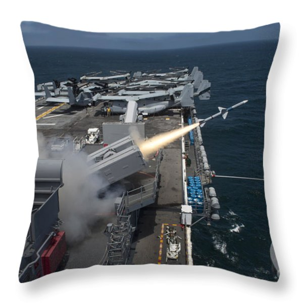 A Rim-7 Sea Sparrow Missile Is Launched Throw Pillow by Stocktrek Images