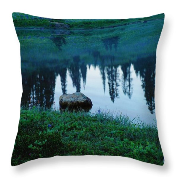 A Rock In The Reflection Throw Pillow by Jeff  Swan