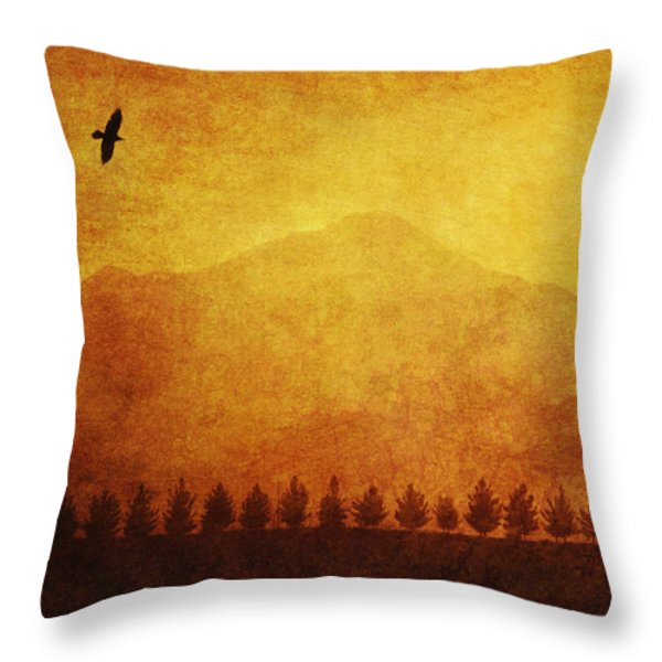 A Row Of Trees And A Raven Silhouetted Throw Pillow by Roberta Murray