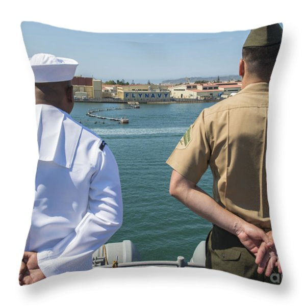 A Sailor And Marine Man The Rails Throw Pillow by Stocktrek Images