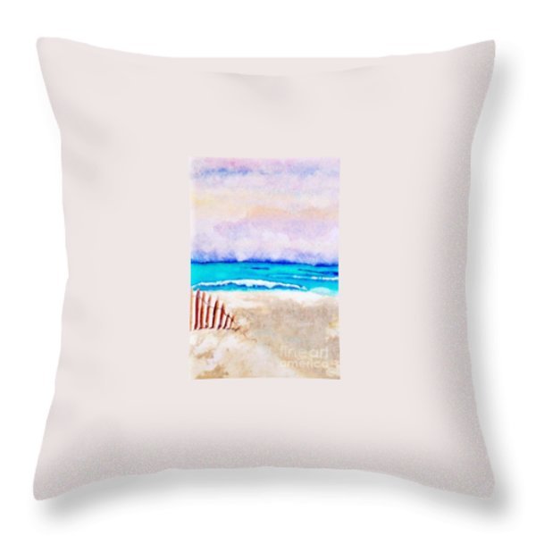 A Sand Filled Beach Throw Pillow by Chrisann Ellis