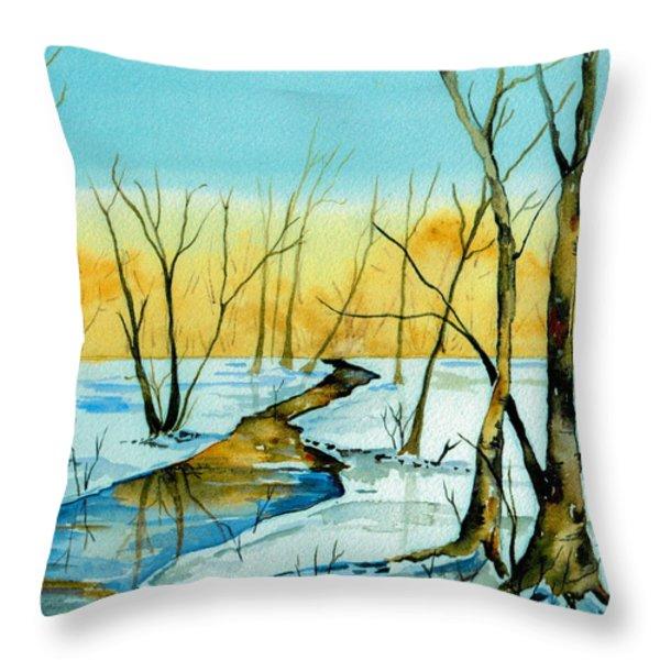 A Sign Of Winter Throw Pillow by Brenda Owen