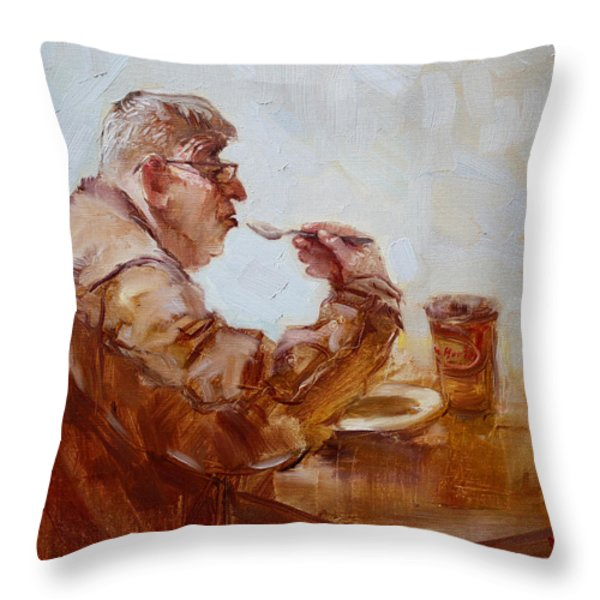 A Soupe Break At Tim Hortons Throw Pillow by Ylli Haruni