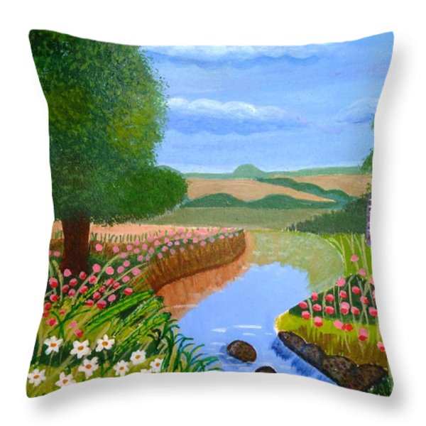 A Spring Stream Throw Pillow by Magdalena Frohnsdorff