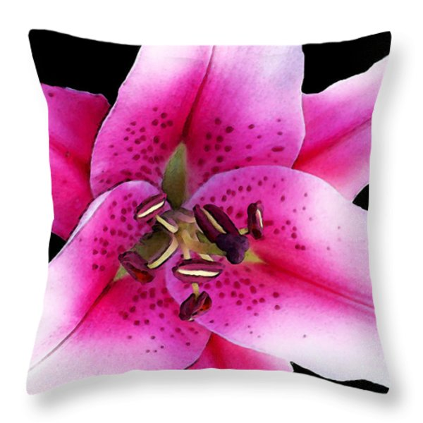 A Star Is Born - Pink Stargazer Lily by Sharon Cummings Throw Pillow by Sharon Cummings
