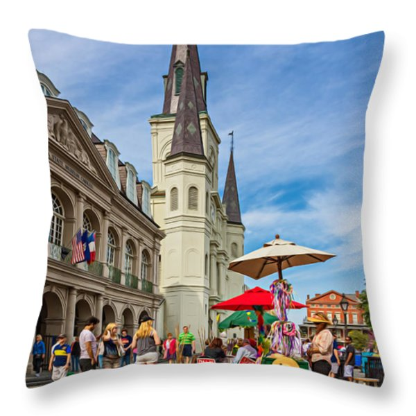 A Sunny Afternoon in Jackson Square oil Throw Pillow by Steve Harrington