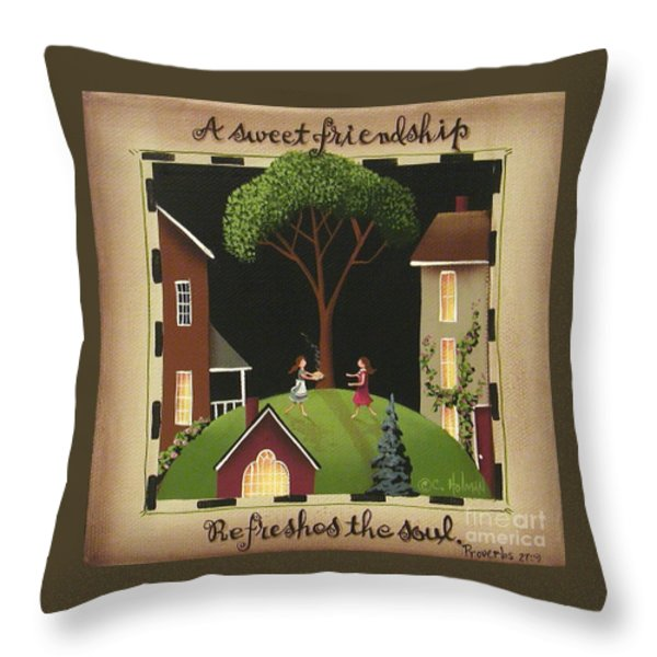 A Sweet Friendship Throw Pillow by Catherine Holman
