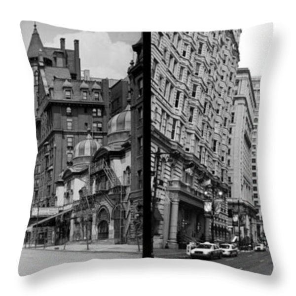 A Tail Of Two Cities - South Broad Then And Now Throw Pillow by Bill Cannon