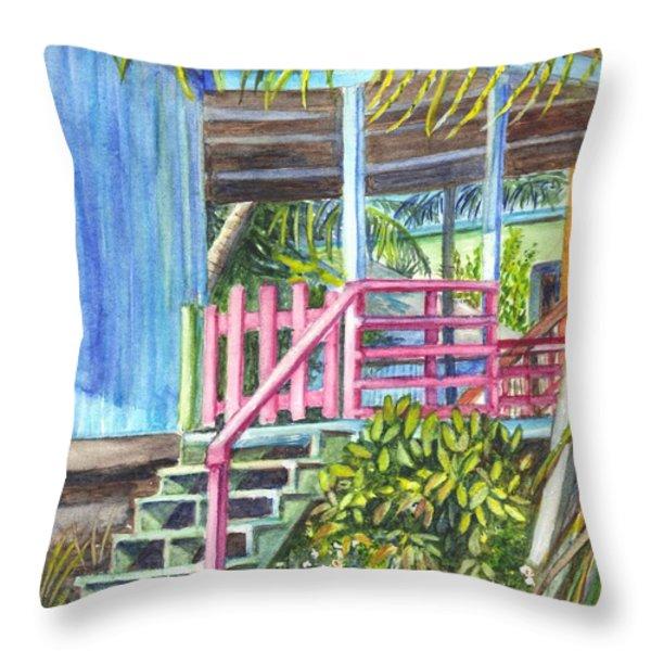 A Tropical Beach House Throw Pillow by Carol Wisniewski