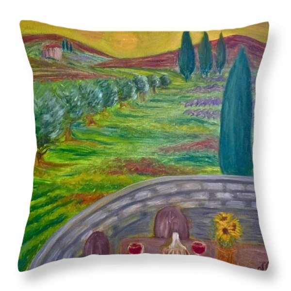 A Tuscan Balcony Throw Pillow by Victoria Lakes