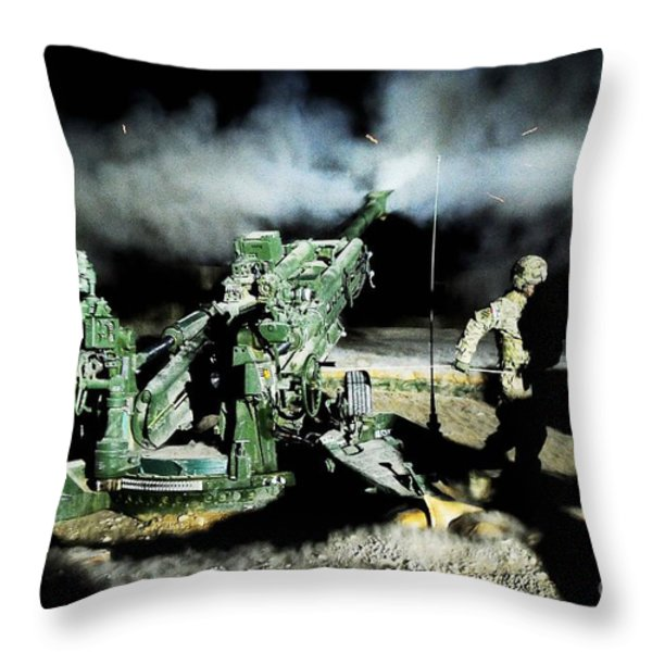 A United States Gun Crew Fire Illumination Rounds At Forward Operating Base Hadrian Throw Pillow by Paul Fearn