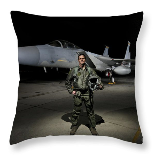 A U.s. Air Force Pilot Stands In Front Throw Pillow by Terry Moore