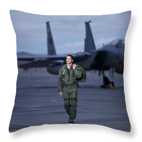 A U.s. Air Force Pilot Walking Away Throw Pillow by Terry Moore