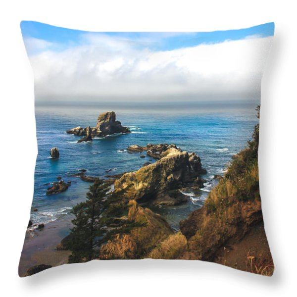 A View From Ecola State Park Throw Pillow by Robert Bales