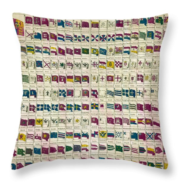A View of the Flags Throw Pillow by Nomad Art And  Design