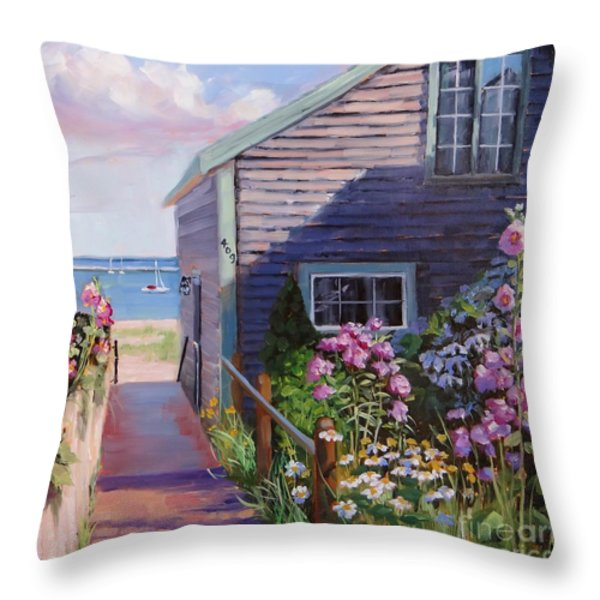 A Visit to P Town Two Throw Pillow by Laura Lee Zanghetti